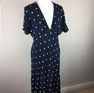 Zara - midi navy dress w/yellow polka dots